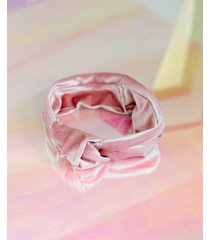 twelvenyc blush-pink velvet stretch knot headband