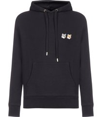 maison kitsuné double fox head patch-logo cotton hoodie