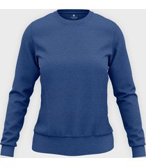 damska bluza taliowana (bez nadruku, gładka) - niebieska