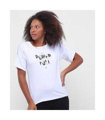 camiseta alto giro new trip gola canoa com tela feminina