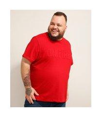 """camiseta de algodão plus size on fire"""" em relevo manga curta gola careca vermelha"""""""