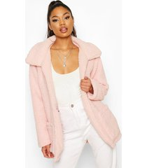 double pocket teddy faux fur coat, pastel pink