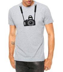 camiseta criativa urbana câmera fotográfica foto manga curta - masculino