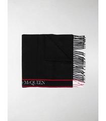 alexander mcqueen logo-tape fringed scarf