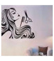 adesivo de parede cabeleireira com tesoura e pente - m 75x75cm