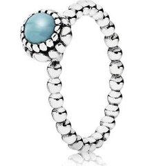 anel de prata pontos com turquesa - dezembro