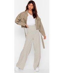 womens how grid it happen check wide-leg pants - sage