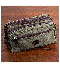 men's leather accent cotton travel case, 'olive textures' (peru)
