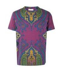 etro camiseta com estampa paisley - roxo