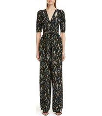 women's erdem floral print belted silk jumpsuit, size 10 us - black