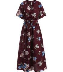 flower print slit belted surplice dress