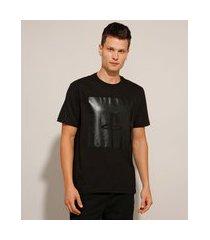 camiseta de algodão playstation manga curta gola careca preta
