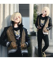 anime yuri!!!on ice yuri plisetsky daily leopard print cosplay jacket coat tops;