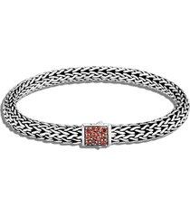classic chain' birthstone garnet sapphire sterling silver bracelet - january