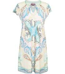 paisley flutter-sleeve shift dress