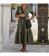 zanzea más el tamaño s-5xl mujeres gira el collar abajo largo ocasional camisa de vestir de la rodilla vestido de las señoras de -ejercito verde