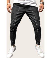 cordón informal de rayas laterales para hombre pantalones