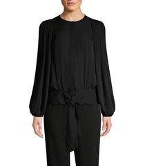 kobi halperin women's francesca pleated blouson tie-waist blouse - black - size s
