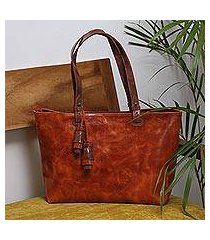 leather shoulder bag, 'beautiful elegance in spice' (mexico)