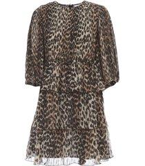 ganni pleated georgette oversized dress animalier