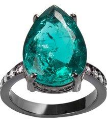 anel gota the ring boutique pedra cristal turmalina fusion ródio negro