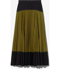 proenza schouler white label crepe colorblock pleated skirt black/military 8
