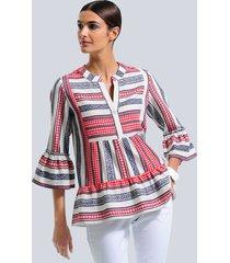 blouse alba moda offwhite::rood::blauw