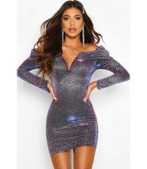 metallic glitter bodycon jurk met uitgesneden hals, paars