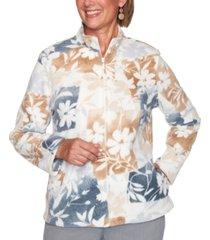 alfred dunner petite glacier lake floral-patchwork polar fleece jacket