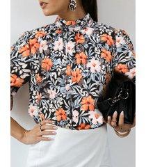 camicetta da donna con colletto alla coreana manica lunga stampata floreale
