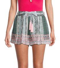 irina printed tassel shorts