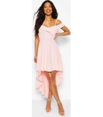 skater jurk met bandjes, losvallende zoom en hartvormige hals, roze