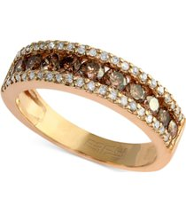 espresso by effy brown and white diamond three-row ring (7/8 ct. t.w.) in 14k gold