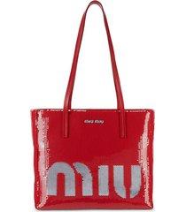leather-trim sequined shopper bag