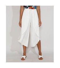 calça saída de praia pantacourt cintura alta com transpasse e amarração off white