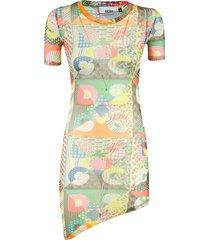 gcds asymmetric hem printed dress
