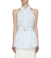 'prospect' belted sleeveless pleated top