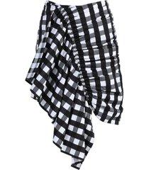 black and white gathered mini skirt