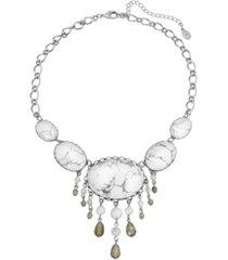 2028 silver-tone semi precious oval stones with bead drops necklace