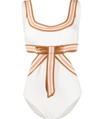zimmermann super eight ribbon-embellished swimsuit - white