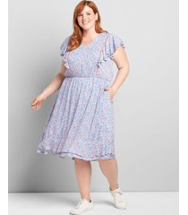 lane bryant women's ruffle-sleeve fit & flare dress 16 blue floral