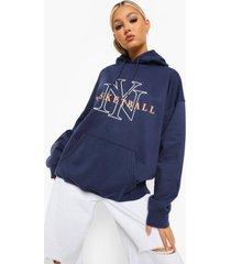 tall hoodie met ny basketball college-print, marineblauw