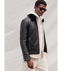 reiss matt - leather jacket with shearling collar in black, mens, size xxl