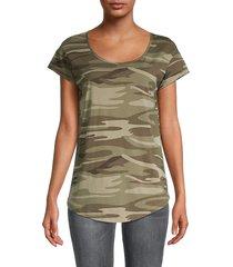 alternative women's origin camo-print t-shirt - khaki camo - size s
