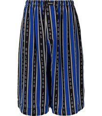 balenciaga vertical-stripe pyjama shorts - black
