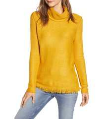 women's beachlunchlounge fringe finish cowl neck sweater, size x-small - yellow