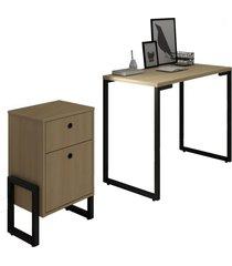 conjunto escritã³rio mesa escrivaninha 90cm e gaveteiro 2 gavetas new port f02 nature - mpozenato - marrom - dafiti