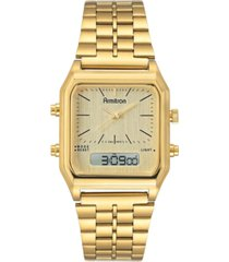 armitron men's analog-digital gold-tone stainless steel bracelet watch 32.5mm