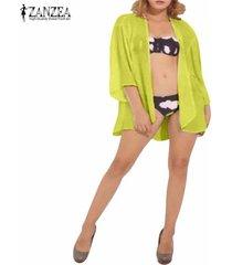 zanzea boho hippie gasa de las mujeres kimono tops chaqueta de la capa del mantón del cabo ropa de playa -amarillo