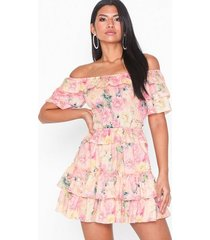 parisian floral bardot ruffle mini dress loose fit dresses